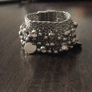 Magnetic silver crystal and bead bracelet